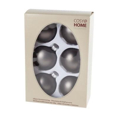 Kerstbal 7cm donker taupe mat glas (doos: 6 stuks)