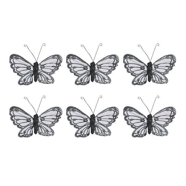 Kerstclip vlinder zwart 26x12x2cm (doos: 6 stuks)