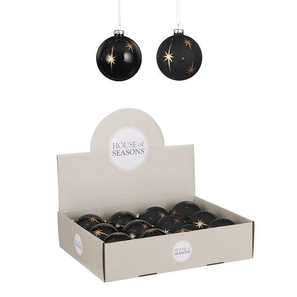 Kerstbal zwarte ster glas 8cm (per stuk)