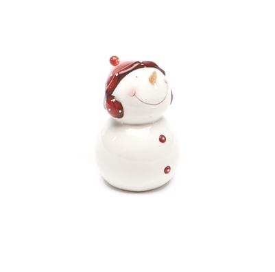 Sneeuwman met rode muts gelakt met scheurtjes 14,5cm