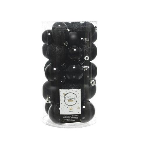 Kerstballen zwart onbreekbaar (koker 30 stuks)