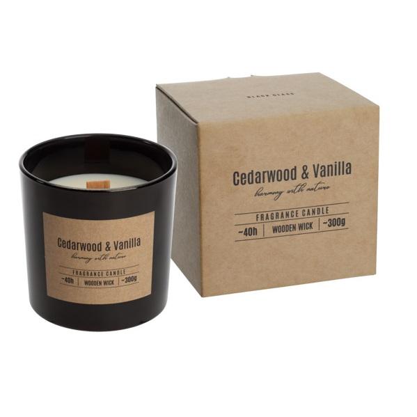 Geurkaars in glas zwart houten wiek cedarwood vanilla 40u