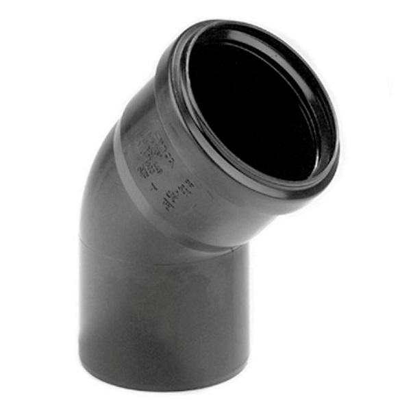 Pp zwart bocht 40mm 45° 1xmof + spie