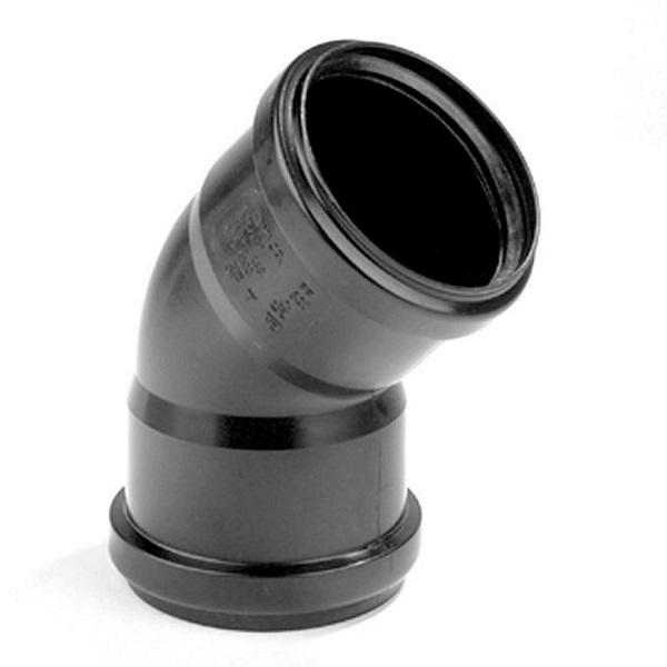 Pp zwart bocht 75mm 45° 2xmof