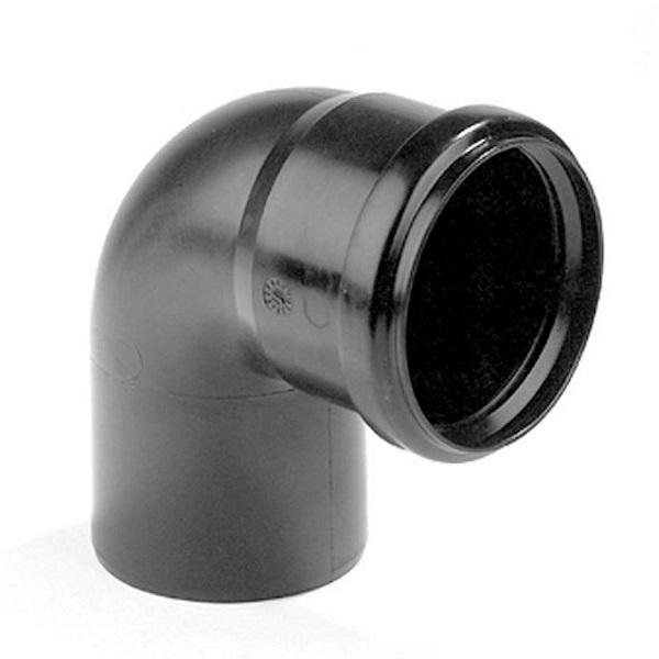 Pp zwart bocht 75mm 87° mof + spie