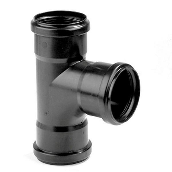 Pp zwart t-stuk 32mm 87° 3xmof