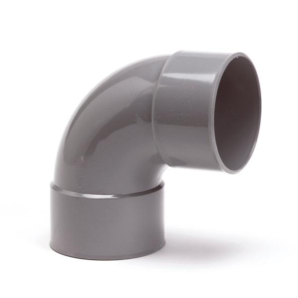 Pvc grijs bocht 87° 60mm 1xlijmmof + spie