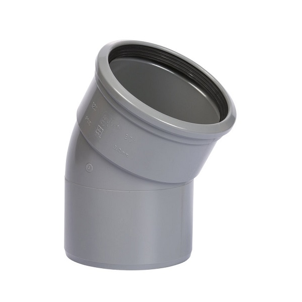 Pvc grijs bocht 30° 110mm 1xmof+spie