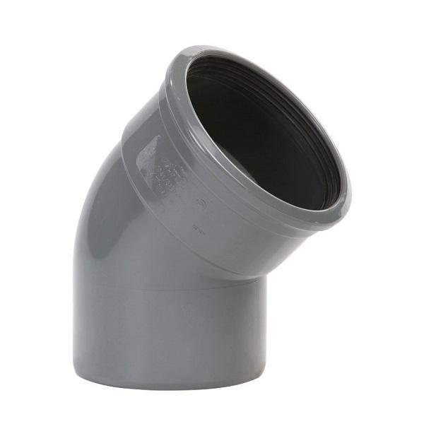 Pvc grijs bocht 45° 200mm 1xmof+spie
