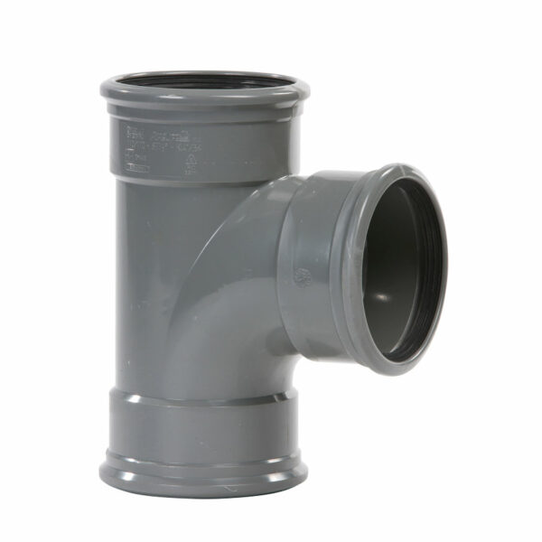 Pvc grijs t-stuk 87° 250mm 3xmof