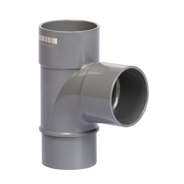 Pvc grijs t-stuk 87° 80mm 2xlijmmof + spie