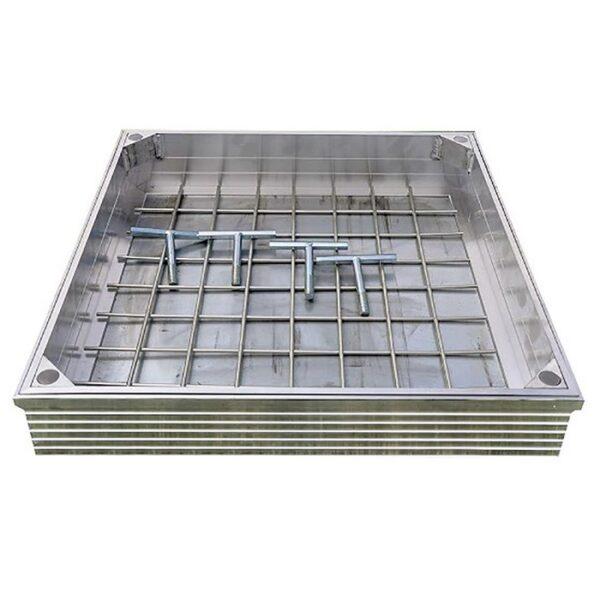 Tegeldeksel aluminium 70x70mm hoogte 6cm
