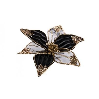 Kerstbloem clip velvet en organz 15cm zwart wit
