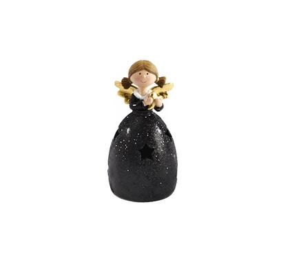 Engel zwart goud met hart led h12,5cm