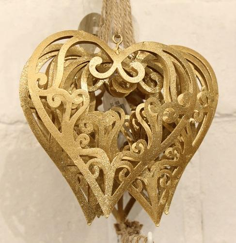 Hanger glitter hart goud 10. 5cm (per stuk)