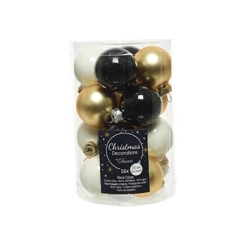 Kerstbal mix wolwit goud zwart 3. 5cm (koker 16st)