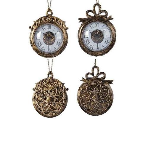 Hanger klok messing kunststof goud/brons (per stuk)