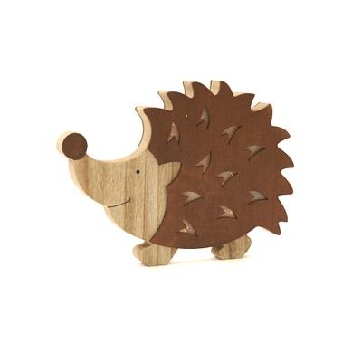 Egel in hout met ledverlichting herfstkleuren 28cm