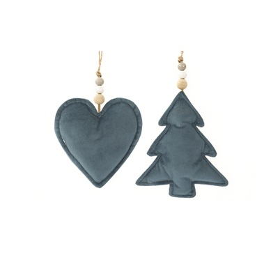 Hanger hart of boom blauw stof 12cm (per stuk)