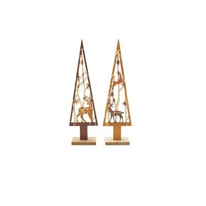 Kerstboom karamel bruin met led 32cm (per stuk)