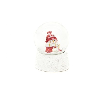 Sneeuwbol met sneeuwman rood accent 6. 5cm