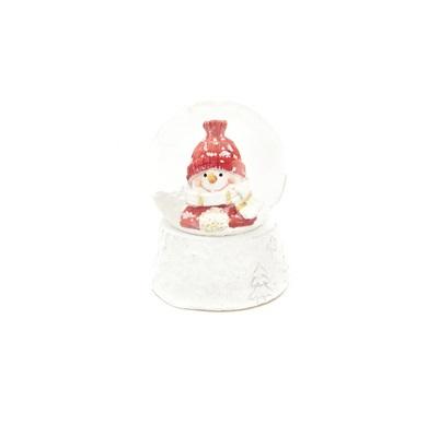 Sneeuwbol met sneeuwman rood accent 4. 5cm