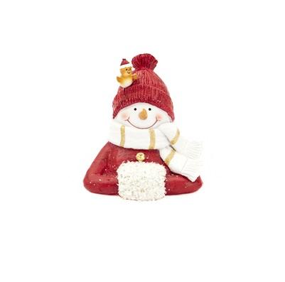 Buste sneeuwman rood 15. 5cm