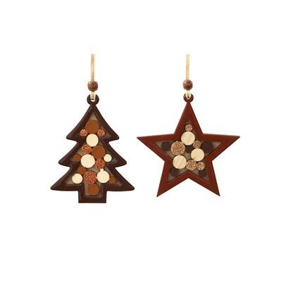 Hanger kerstboom/ster bruin karamel 12cm (per stuk)